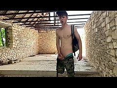 Teen Boy Get Hard his 23 cm Cock in the abandoned building (RISKY)     /CUM / Wanking / Moaning / YOUNG / TEEN / BOY / 23cm / big DICK/ Stroking / HOT
