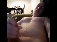 Dumb sub cums on his chest