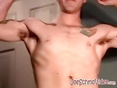 Tattooed young amateur fills mature gays mouth with hot cum