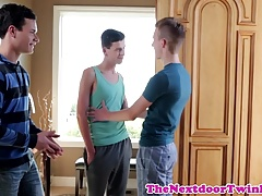 Cocksucking and anal fucking twink threesome