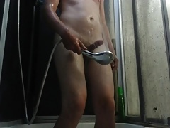 a boy massages his cock by water. no hands orgasm.