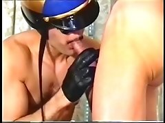 Horny dude get erected while handsome man touching his cock