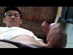 Indonesian student jerking outdoor