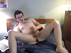 nerdy boy playing with toys