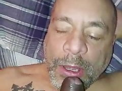 Bald Daddy gets BBC Facial