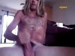 Blonde stoner gets horny fingers his ass wanks and cums
