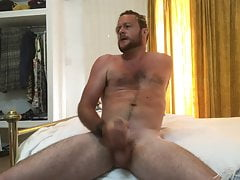 Hotel room wank and cum
