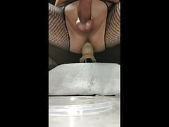 Intense double orgasm with panties hanging from asshole