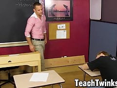 Twink sucking off stud teacher before doggystyle pounding