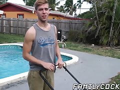 Hunk daddy creampied by stepson in the back yard
