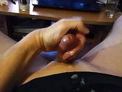 Wank and cum in 3 different views
